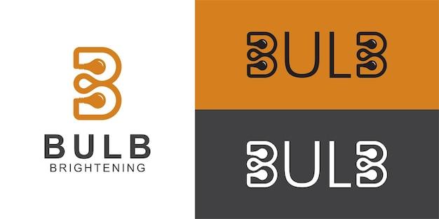 Logos d'idée créative de la lettre d'art en ligne b avec l'icône du symbole de la lampe à ampoule pour la conception de votre logo de marque