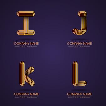 Logos ijkl de lettre professionnelle de style d'impression de doigt