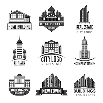 Logos immobiliers et étiquettes monochromes