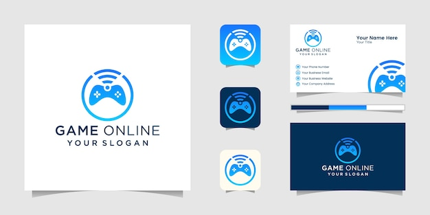 Logos de joystick de jeu et wifi pour les jeux en ligne et l'inspiration des cartes de visite