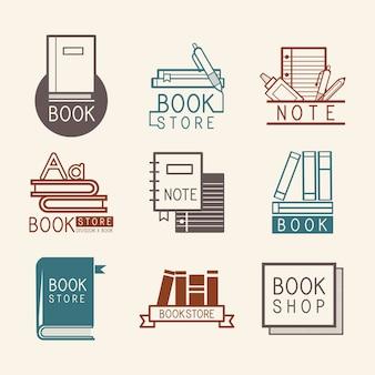 Logos de librairie et signe set vector