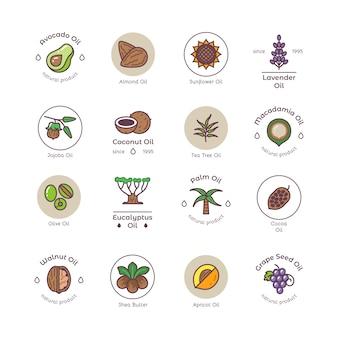 Logos linéaires sains d'huile de cosmétique bio