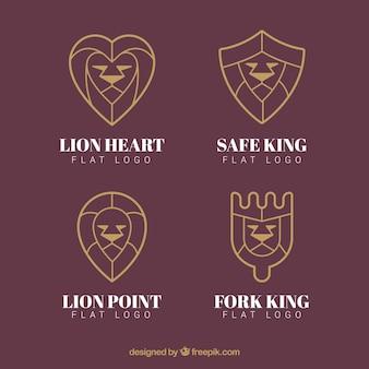 Logos lion, style linéaire