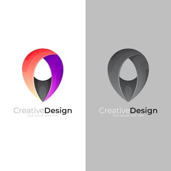 Logos de localisation, vecteur de conception de broches, logos colorés