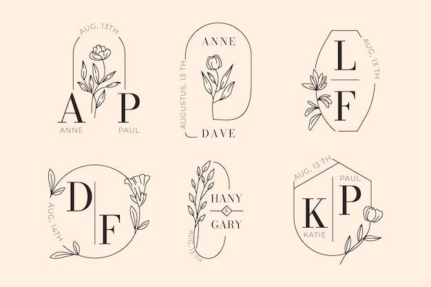 Logos de mariage plats linéaires