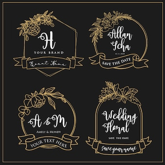 Logos de mariage pouvant être modifiés avec des lignes de fleurs