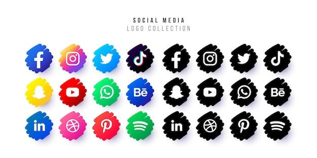 Logos de médias sociaux avec badges griffonnés