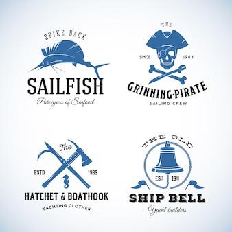 Logos de mer nautique vintage.