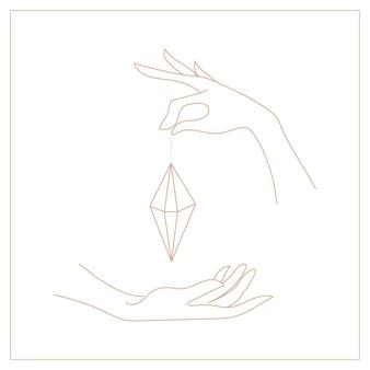 Logos de modèle de mains linéaires de conception vectorielle