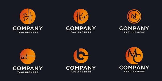 Logos de monogramme en cercle avec résumé de conception de logo de lettre initiale