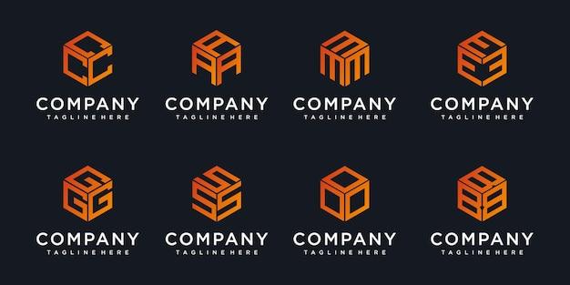 Logos de monogramme faits de cubes avec résumé de conception de logo de lettre initiale