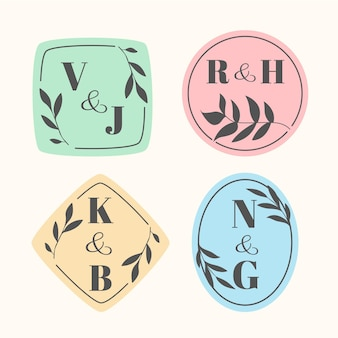 Logos de monogramme de mariage calligraphiques