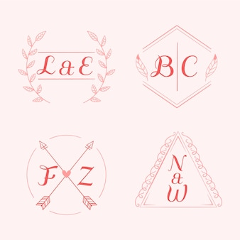 Logos de monogramme de mariage dessinés à la main