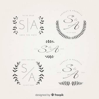 Logos de monogramme de mariage magnifique