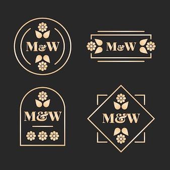 Logos de monogrammes de mariage floral