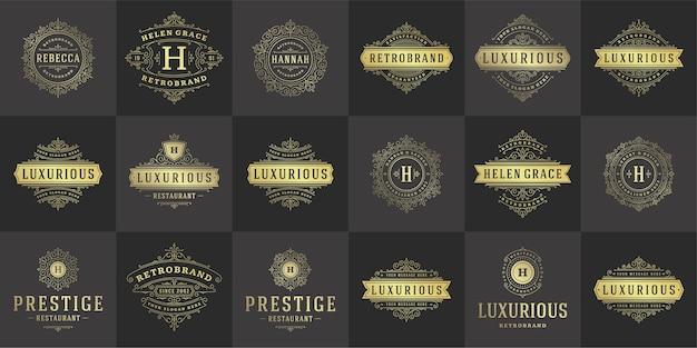 Logos et monogrammes vintage définissent des dessins au trait élégants
