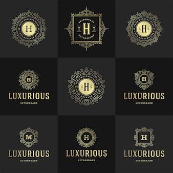 Des logos et des monogrammes vintage définissent des fioritures élégantes, des ornements gracieux, une conception de modèle vectoriel de style victorien. calligraphie ornée classique pour la boutique héraldique royale de crête de luxe, restaurant