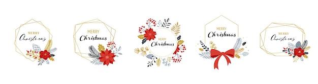Logos de noël joyeux, monogrammes élégants et délicats dessinés à la main isolés