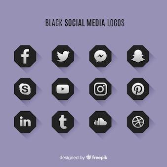 Logos noirs sur les réseaux sociaux