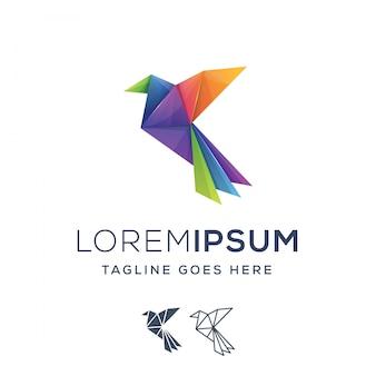Logos d'oiseaux origami colorés
