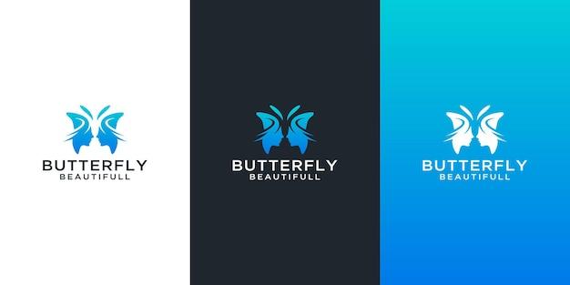 Logos de papillon sertis de conception de visage de femme beauté abstraite