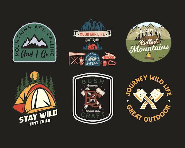 Logos de patchs de camp vintage, ensemble de badges de montagne