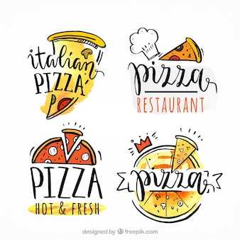 Logos de pizza dessinés à la main