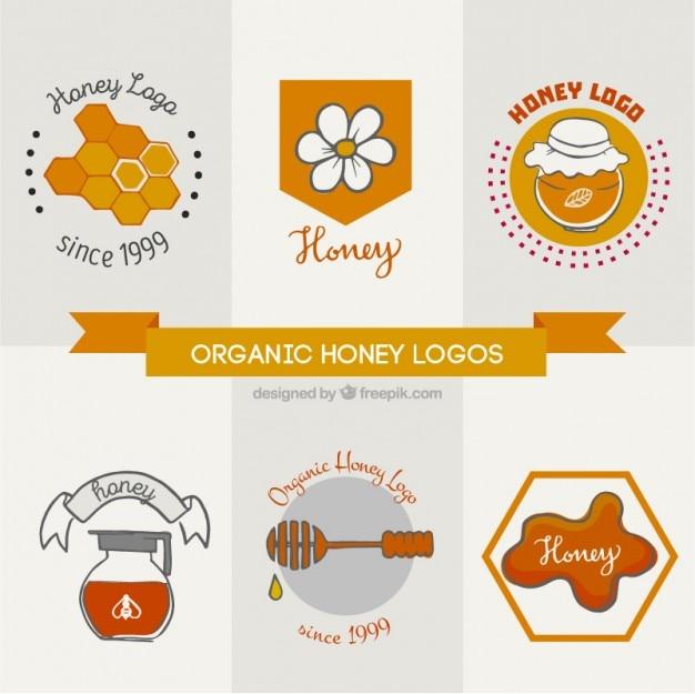 Logos pour le miel organique avec des éléments dessinés à la main