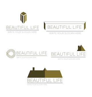 Logos pour les sociétés immobilières ensemble de logos pour les sociétés immobilières