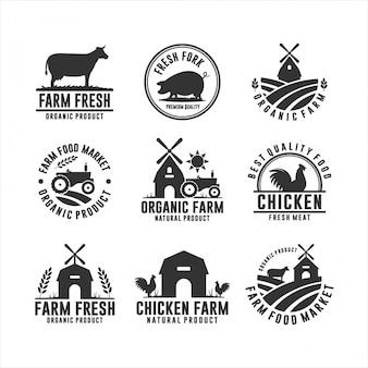 Logos de produits biologiques frais de la ferme