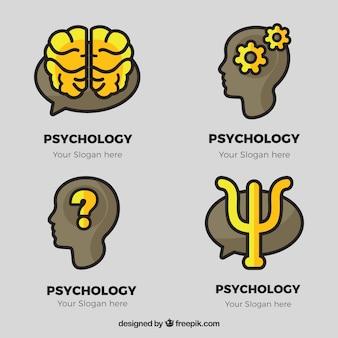 Logos de psychologie gris avec des détails jaunes