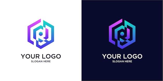 Logos r de couleur dégradée