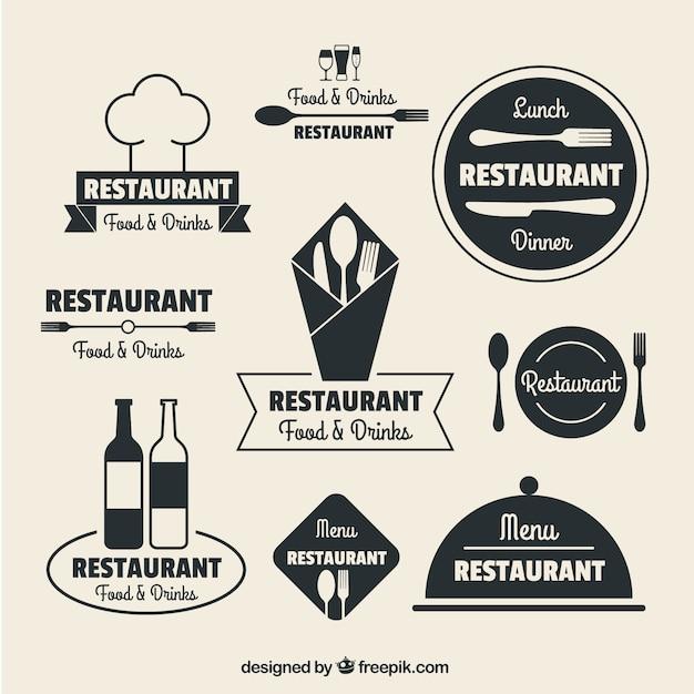 Logos sur les restaurants dans la conception plat