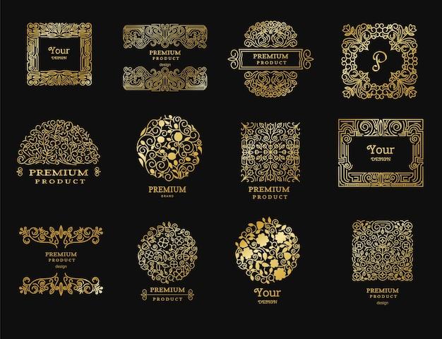 Logos rétro vintage dorés
