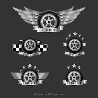 Logos avec roues décoratives dans la conception réaliste