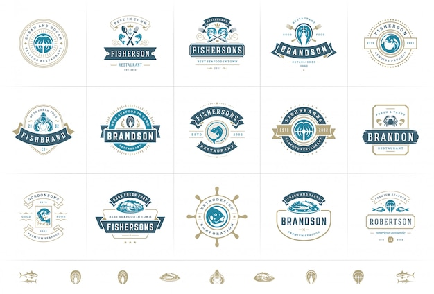 Logos ou signes de fruits de mer mis en illustration vectorielle modèles de marché aux poissons et restaurant emblèmes