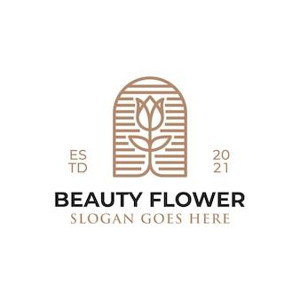 Logos de style art en ligne de fleur de beauté