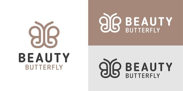 Les logos de style art en ligne de la lettre bb pour le papillon de beauté peuvent être utilisés comme marque d'entreprise de produit de femme