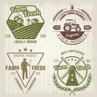 Logos de style rétro de ferme