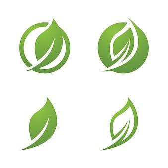 Logos de vecteur d'élément nature écologie feuille arbre vert