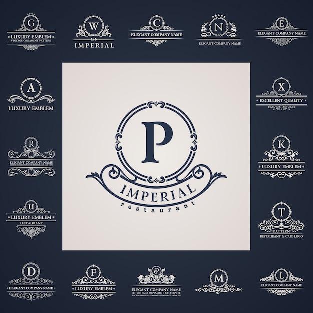 Logos vintage de luxe mis en éléments de lettre calligraphique