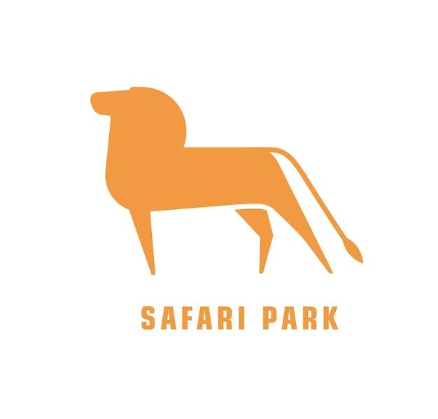 Logotype abstrait avec silhouette de lion. logo pour parc safari avec animal carnivore africain. élément de design décoratif stylisé isolé sur fond blanc. illustration vectorielle plane monochrome.