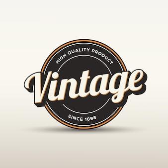 Logotype de badge vintage et modèle d'étiquette avec effet de style de texte