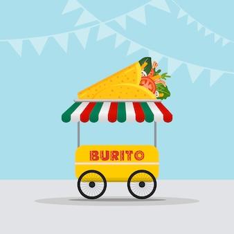 Logotype de camion de nourriture pour le service de livraison rapide de repas de cuisine mexicaine ou le festival de nourriture d'été.