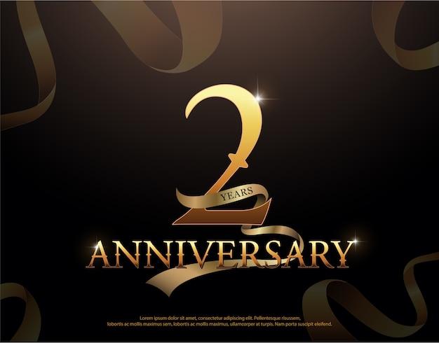 Logotype de célébration de l'anniversaire de 2 ans