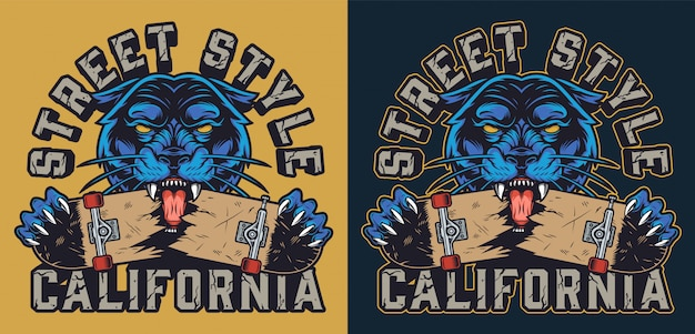 Logotype coloré de skateboard vintage