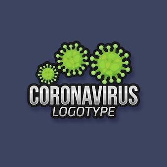 Logotype de coronavirus avec des bactéries