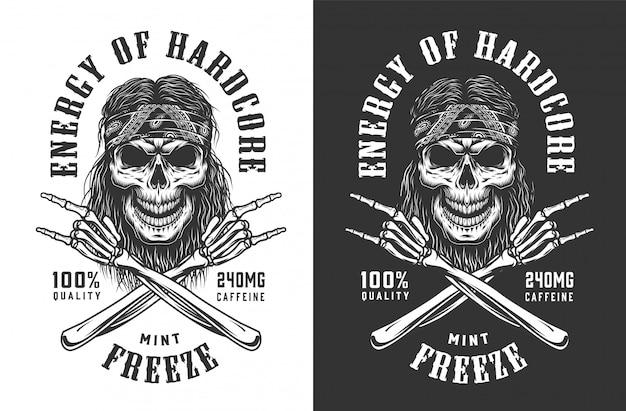 Logotype de crâne de rockstar monochrome vintage