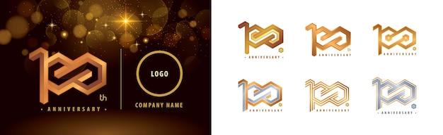 Logotype du 100e anniversaire célébration du centenaire du logo 100 ans hexagon infinity