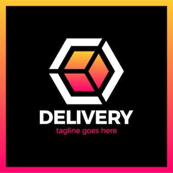 Logotype de flèche de boîte de livraison. style dégradé coloré